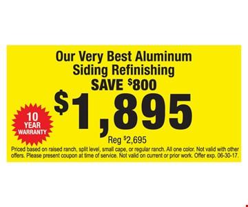 Save $800 Aluminum Siding Refinishing