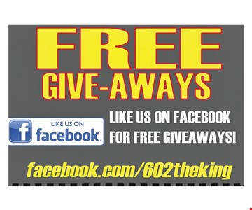 Free Give-Aways like us on Facebook for a free giveaway
