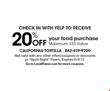 Check in with Yelp to receive 20% Off your food purchaseMaximum $10 Value. Not valid with any other offers/coupons or discounts or
