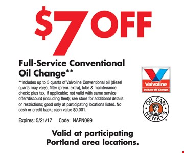 $7 Off Full-Service Conventional Oil Change