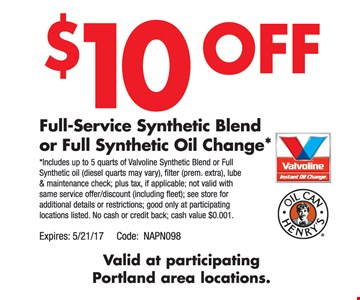 $10 Off Full-Service Synthetic Blend or Full Synthetic Oil Change