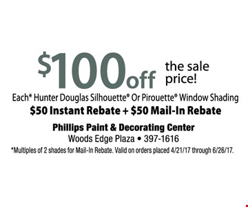 $100 off the sale price