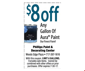 $8 off any gallon of Aura® paint