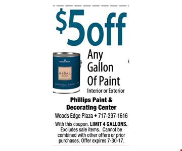 $5 off any gallon of paint