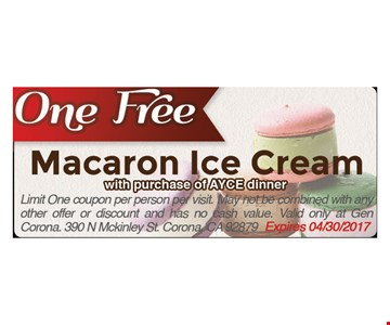 One Free Macaron Ice Cream with purchase of AYCE dinner