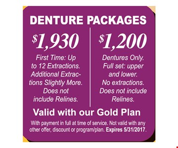 Dental Packages $1,200 to $1930