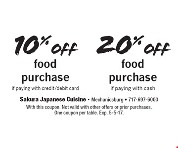 10% off food purchase if paying with credit/debit card OR 20% off food purchase if paying with cash. With this coupon. Not valid with other offers or prior purchases. One coupon per table. Exp. 5-5-17.