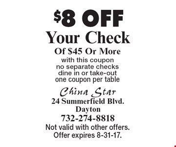 $8 OFF Your Check Of $45 Or More with this coupon no separate checks dine in or take-out one coupon per table. Not valid with other offers. Offer expires 8-31-17.
