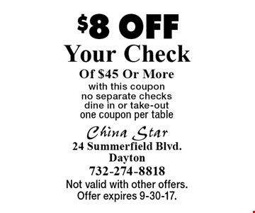 $8 Off Your Check Of $45 Or More with this coupon. No separate checks. Dine in or take-out. One coupon per table. Not valid with other offers. Offer expires 9-30-17.