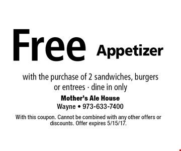 Free Appetizer with the purchase of 2 sandwiches, burgers or entrees. Dine in only. With this coupon. Cannot be combined with any other offers or discounts. Offer expires 5/15/17.
