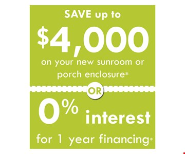 Save up to $4,000 or 0% Interest for 1 Year Financing