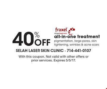40% Off all-in-one treatment pigmentation, large pores, skin tightening, wrinkles & acne scars. With this coupon. Not valid with other offers or prior services. Expires 5/5/17.