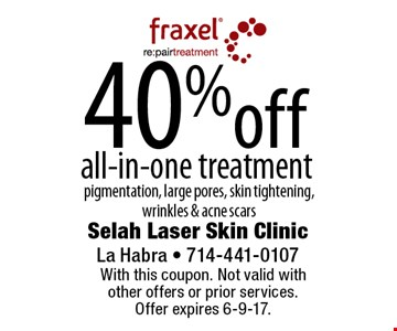 40% off all-in-one treatment. Pigmentation, large pores, skin tightening, wrinkles & acne scars. With this coupon. Not valid with other offers or prior services. Offer expires 6-9-17.