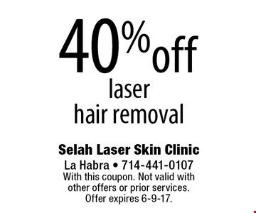 40% off laser hair removal. With this coupon. Not valid with other offers or prior services. Offer expires 6-9-17.