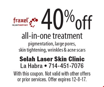 40% off all-in-one treatment pigmentation, large pores, skin tightening, wrinkles & acne scars. With this coupon. Not valid with other offers or prior services. Offer expires 12-8-17.