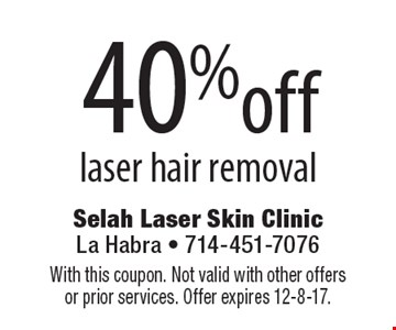 40% off laser hair removal. With this coupon. Not valid with other offers or prior services. Offer expires 12-8-17.