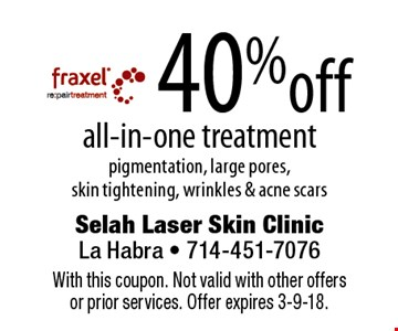 40%off all-in-one treatment pigmentation, large pores, skin tightening, wrinkles & acne scars. With this coupon. Not valid with other offers or prior services. Offer expires 3-9-18.