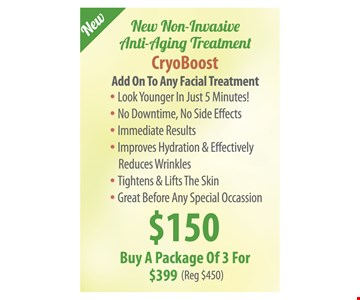 CyroBoost $150/Buy A Package Of 3 For $399 (Reg $450)