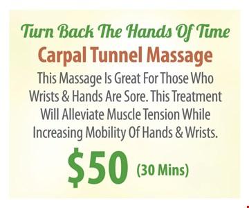 Carpal Tunnel Massage $50 (30 Mins)