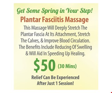 Plantar Fasciitis Massage $50 (30 Mins)