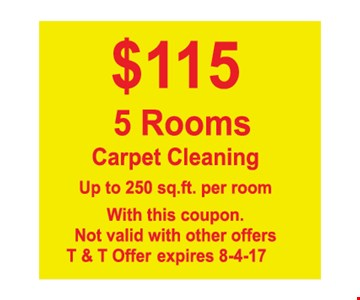 $115 5 rooms carpet cleaning