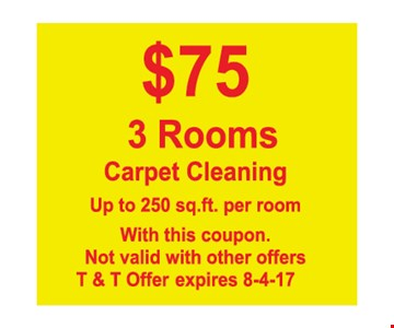$75 3 rooms carpet cleaning