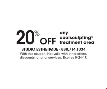 20% Off any coolsculpting treatment area. With this coupon. Not valid with other offers, discounts, or prior services. Expires 6-24-17.
