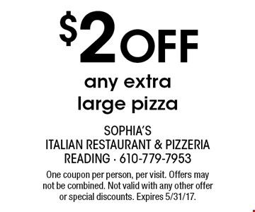 $2 off any extra large pizza. One coupon per person, per visit. Offers may not be combined. Not valid with any other offer or special discounts. Expires 5/31/17.