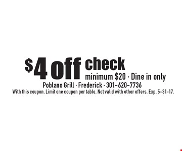 $4 off check minimum $20 - Dine in only. With this coupon. Limit one coupon per table. Not valid with other offers. Exp. 5-31-17.