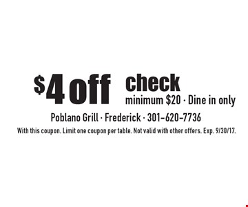$4 off check minimum $20 - Dine in only. With this coupon. Limit one coupon per table. Not valid with other offers. Exp. 9/30/17.