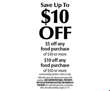 Save Up To $10 OFF $5 off any food purchase of $30 or more$10 off any food purchase of $50 or more not including alcohol - dine in only . Valid with coupon only. Must present coupon with purchase. ONE COUPON PER TABLE, PER PARTY. Not valid with Kids Eat Free on Sundays & Tuesdays. Not valid with split checks or with other offers. Not valid on holidays. Expires 5-4-17.