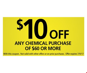 $10 off any chemical purchase of $60 or more