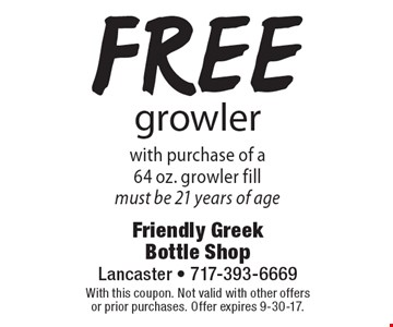 Free growler with purchase of a 64 oz. growler fill – must be 21 years of age. With this coupon. Not valid with other offers or prior purchases. Offer expires 9-30-17.