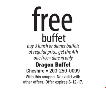 free buffet, buy 3 lunch or dinner buffets at regular price, get the 4th one free - dine in only. With this coupon. Not valid with other offers. Offer expires 6-12-17.