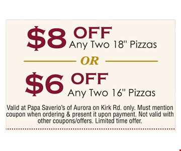 up to $8 off 2 pizzas