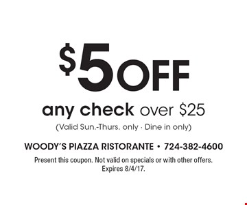 $5 off any check over $25 (Valid Sun.-Thurs. only - Dine in only). Present this coupon. Not valid on specials or with other offers. Expires 8/4/17.
