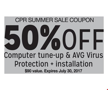 50% Off Computer Tune-up and AVG Virus Protection + Installation