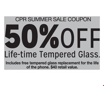 50% Off Life-time Tempered Glass