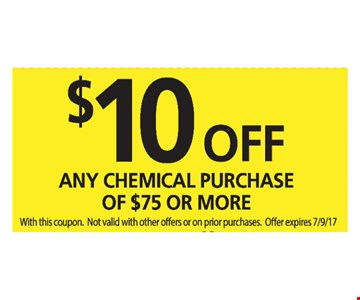 $10 Off Any Chemical Purchase Of $75 Or More