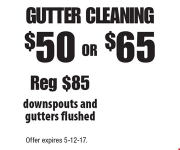 $50 OR $65 gutter cleaning downspouts and gutters flushed Reg $85. Offer expires 5-12-17.