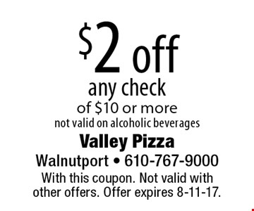 $2 off any check of $10 or more not valid on alcoholic beverages. With this coupon. Not valid with other offers. Offer expires 8-11-17.