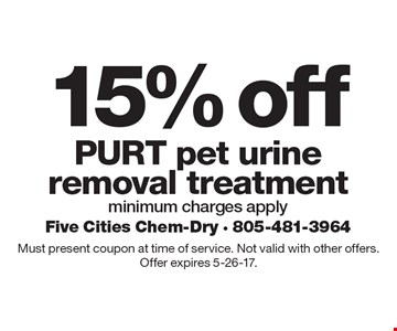 15% off PURT pet urine removal treatment minimum charges apply. Must present coupon at time of service. Not valid with other offers. Offer expires 5-26-17.