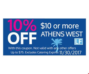 10% off $10 or more athens west