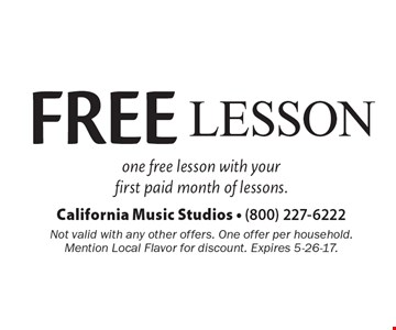 One free lesson with your first paid month of lessons. Not valid with any other offers. One offer per household. Mention Local Flavor for discount. Expires 5-26-17.