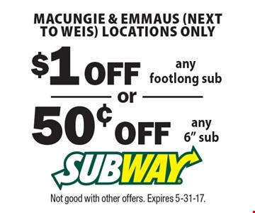 50¢ OFF any 6