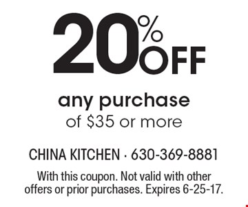 20% off any purchase of $35 or more. With this coupon. Not valid with other offers or prior purchases. Expires 6-25-17.