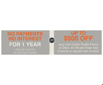 No Payment No Interest for 1 year Or Up to $500 off