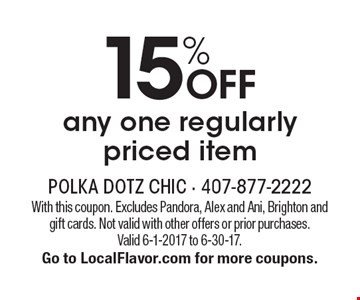 15% off any one regularly priced item. With this coupon. Excludes Pandora, Alex and Ani, Brighton andgift cards. Not valid with other offers or prior purchases. Valid 6-1-2017 to 6-30-17. Go to LocalFlavor.com for more coupons.