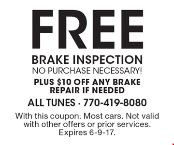FREE BRAKE INSPECTION no purchase necessary! plus $10 off any Brakere pair if needed. With this coupon. Most cars. Not valid with other offers or prior services. Expires 6-9-17.