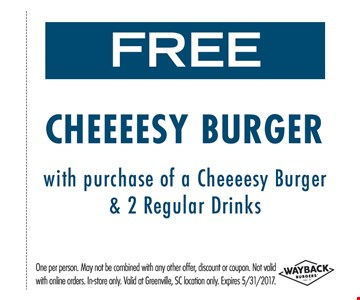 free cheeeesy burger with purchase